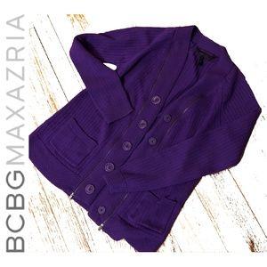 BCBGMAXAZRIA Purple Snap Button Cardigan Sweater